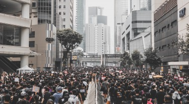 People protesting the street in Hong Kong